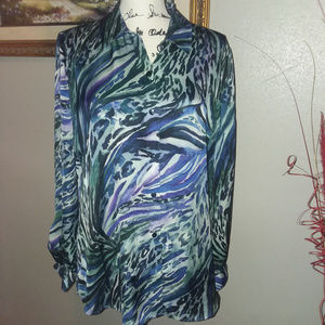 Chico's Women's Long Sleeve Button Blouse Size 1